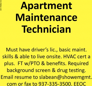 apartment maintenance technician tradition apartments troy oh