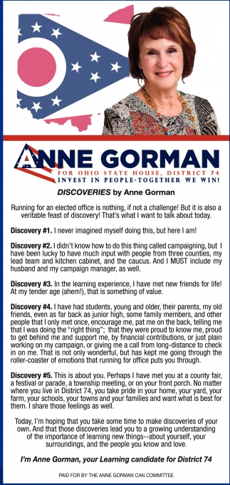 Anne Gorman for Ohio State House, District 74
