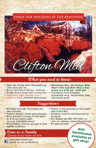 Enjoy The Holidays at The Beautiful Clifton Mill