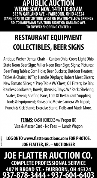 Restaurant Equipment, Collectibles, Beer Sings