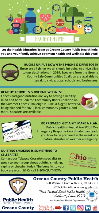 Healthy Lifestyle, Greene County Public Health, Xenia, OH