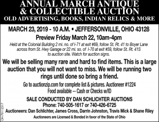 Annual March Antique & Collectible Auction