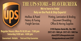 We're to help! Rely on the Pack & Ship Experts!