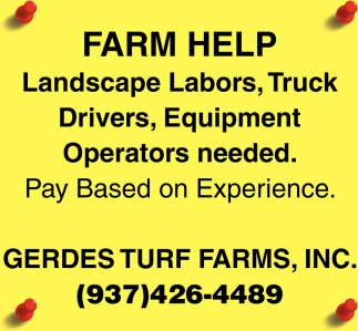 Landscape Labors, Truck, Drivers, Equipment Operators