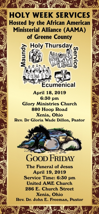 Holy Week Services - Rev. Dr Gloria Wade Dillon, Pastor