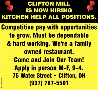 Hiring now Kitchen Help all Positions