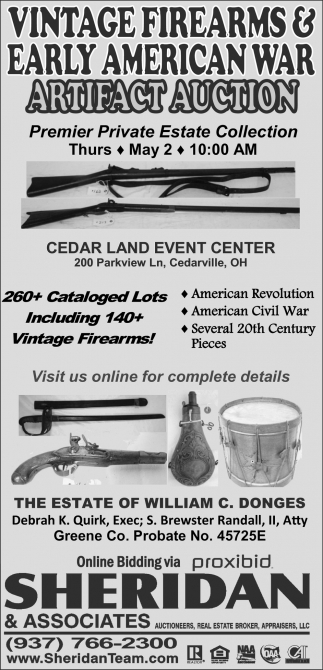 Artifact Auction, Sheridan & Associates, Cedarville, OH