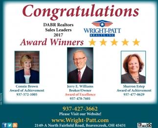 DABR Realtors Sales Leaders 2017 Award Winners