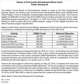 Notice of Community Development Block Grant