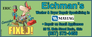 Washer & Dryer Repair Spacializing in Maytag