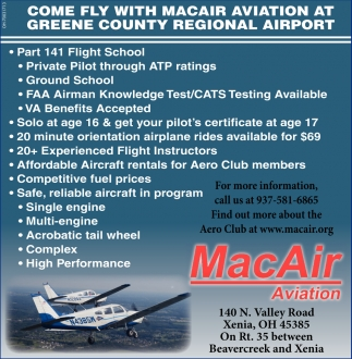 Come fly with MacAir Aviation at Greene County Regional Airport