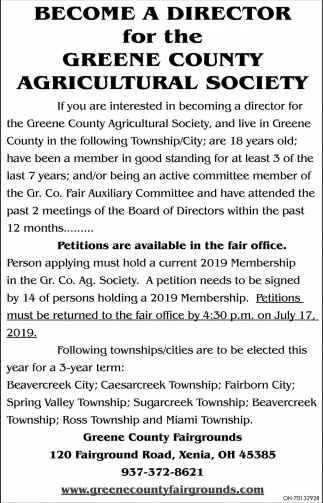 Become a Director for the Greene County Agricultural Society