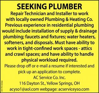 Seeking Plumber