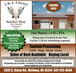 Bring your Livestock to our New Facility