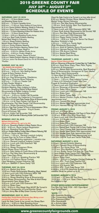 2019 Schedule Events