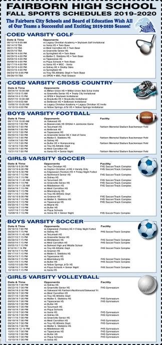 Fall Sports Schedules 2019 - 2020