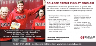 College Credit Plus at Sinclair