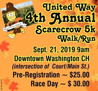 4th Annual United Way Scarecrow 5k Walk/Run