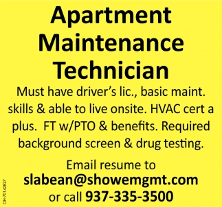 Must have driver's lic., basic maint. Skills & able to live onsite