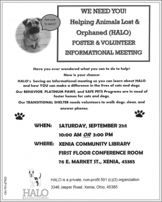 Foster & Volunteer Informational Meeting - September 21st