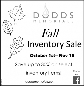 Fall Inventory Sale