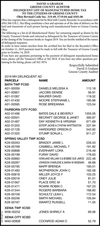 Delinquent List of Manufactured Home Tax