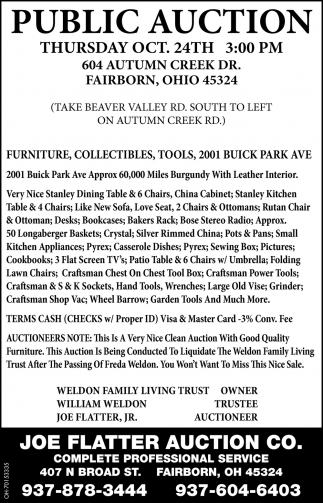 Public Auction - Oct. 24th
