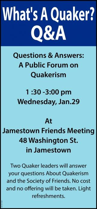 A Public Forum on Quakerism
