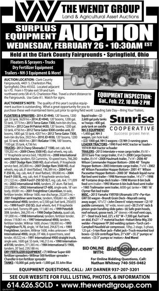 Surplus Equipment Auction - February 26