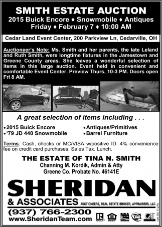 Smith Estate auction - February 7