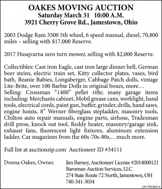 Oakes Moving Auction