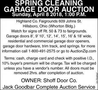 Spring Cleaning Garage Door Auction