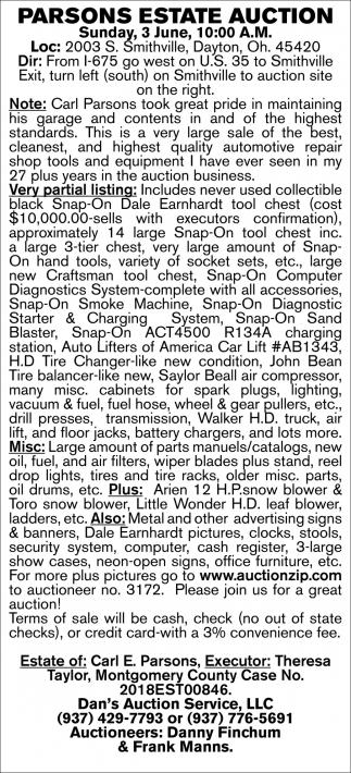 Parsons Estate Auction