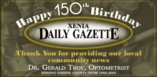 Happy 150th Birthday Xenia Daily Gazette