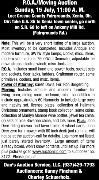 P.O.A./Moving Auction