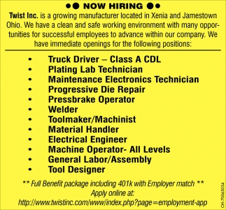 Now Hiring Twist Inc Xenia Oh