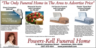 The Only Funeral Home in The Area to Advertise Price
