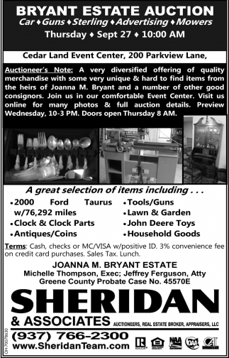 Bryant Estate Auction
